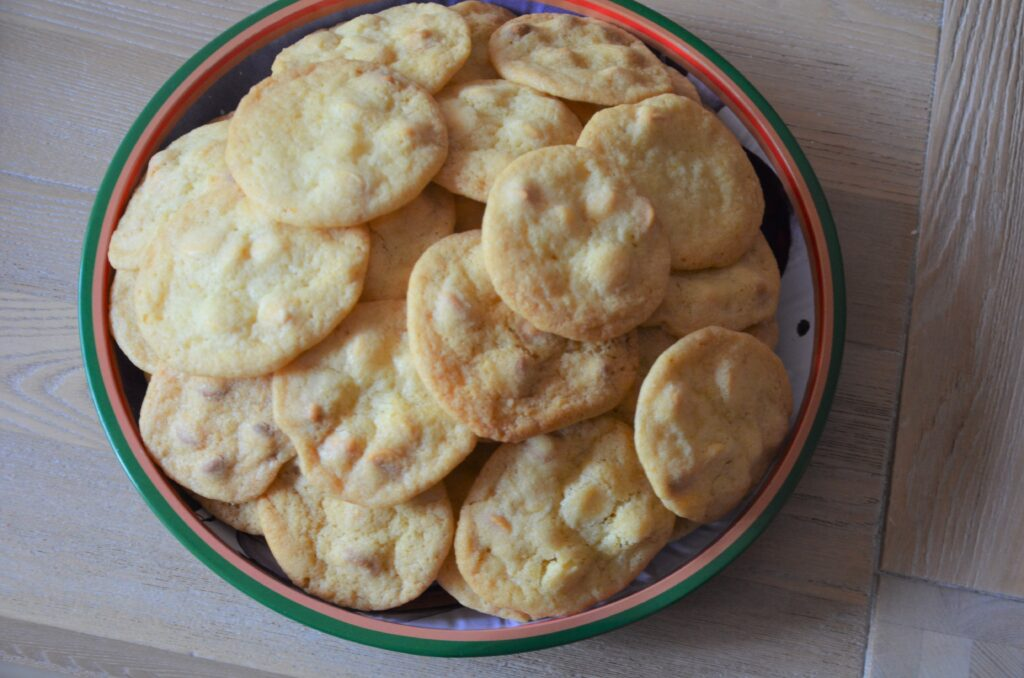 A plate full of White Chocolate Orange Cookies