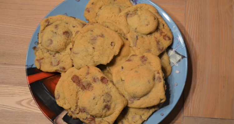 Oreo Stuffed Chocolate Chip Cookies on a Christmas plate