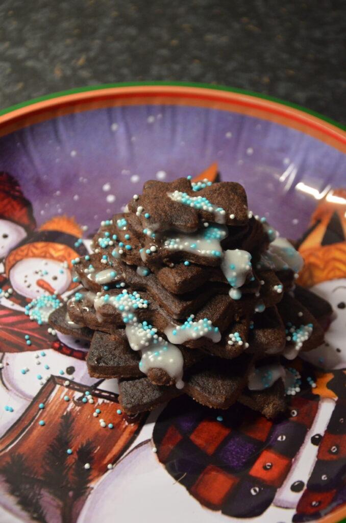 Chocolate Christmas Tree on a Christmas plate