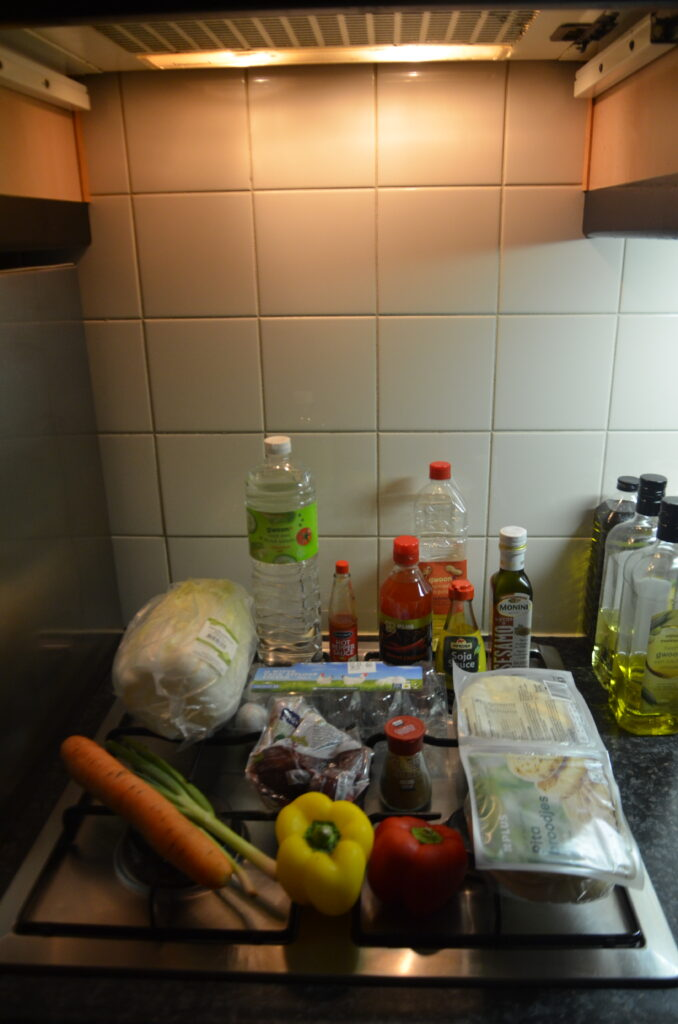Ingredients, layed out on the stove