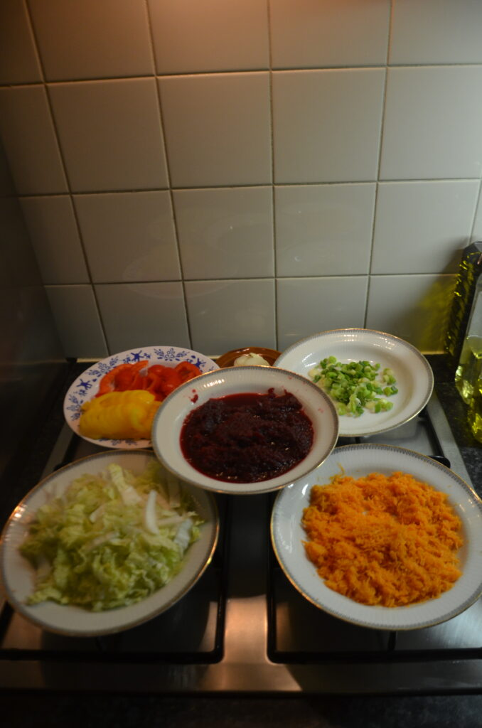Ingredients, in deep plates, chopped