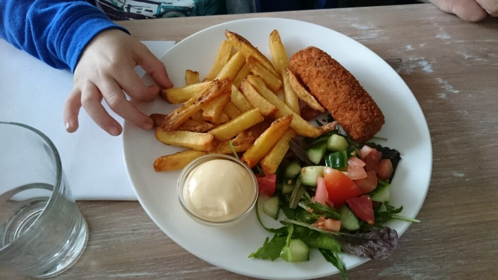 Kroket with fries, salad and mayonnaise on a white plate. With Yuri's hand taking a frie from the plate