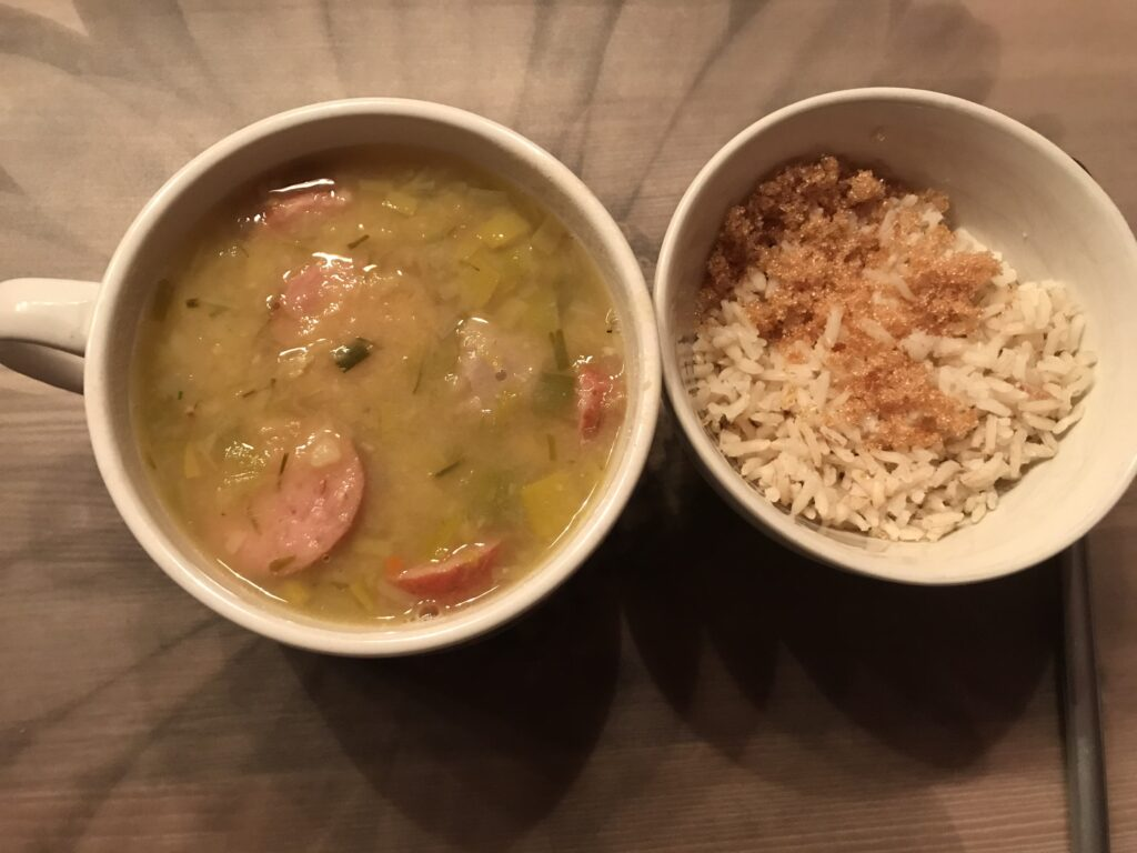 Split Pea Soup with rice on the side