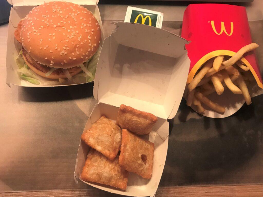 McDonald's, McChicken menu and mini apple pies