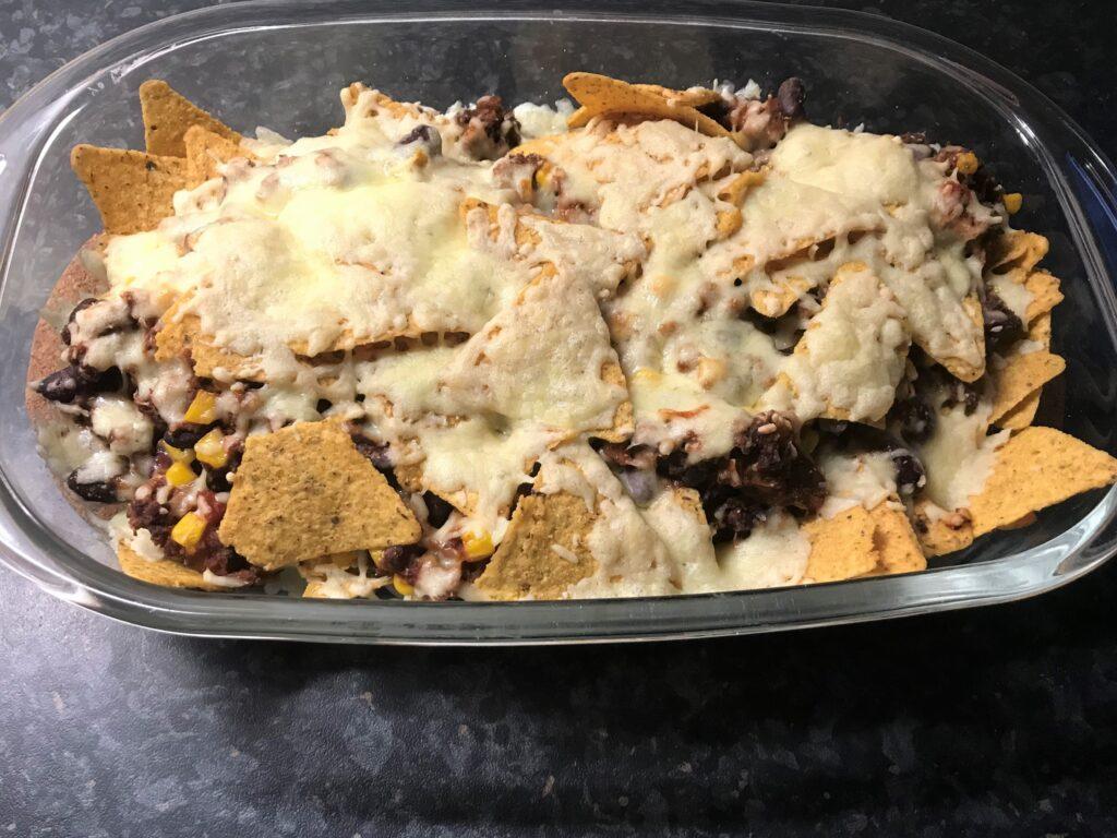 Vega nachos in a casserole dish