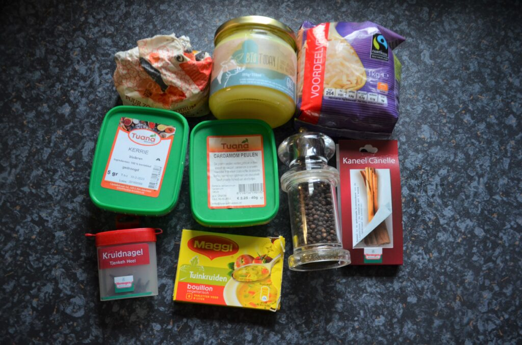 Ingredients placed on the counter