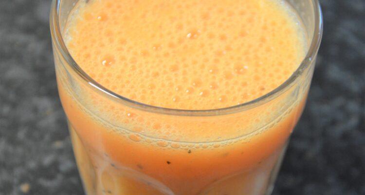 Melon-Coconut Juice in a small glass