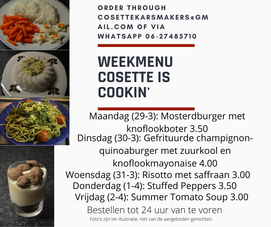 The menu for week 13