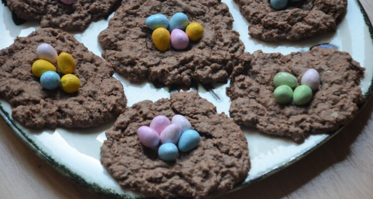 Chocolate Easter Nests, you see 2 of the cookies up close.
