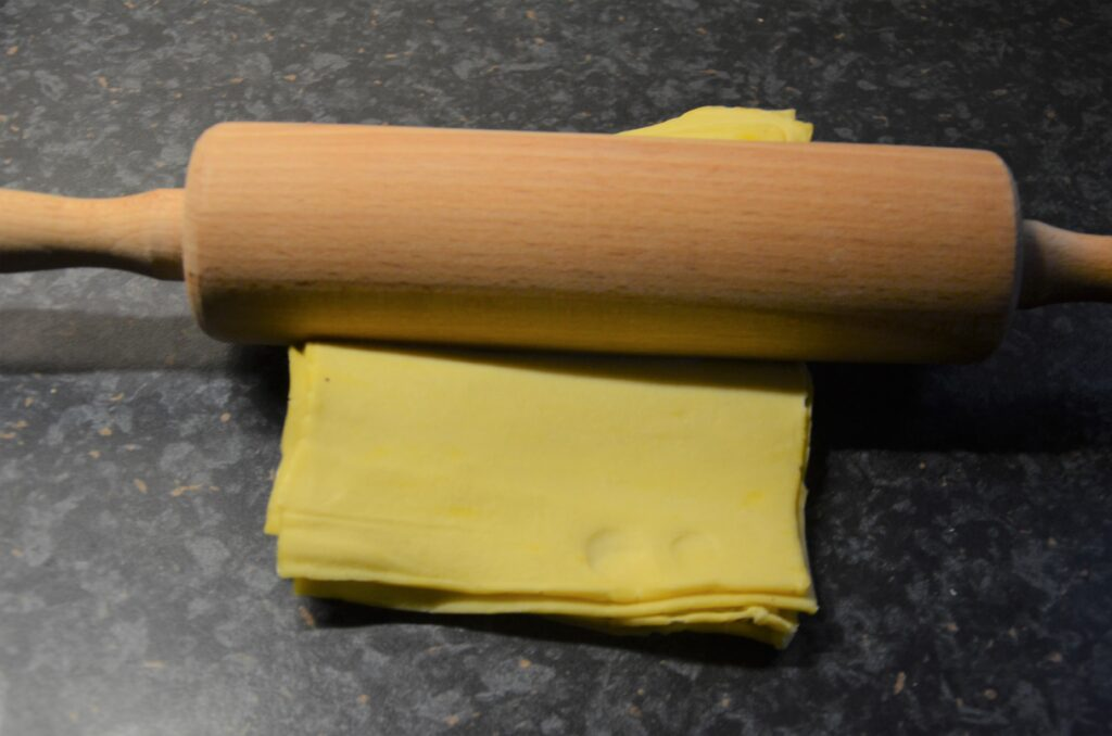 Rolling out the puff pastry