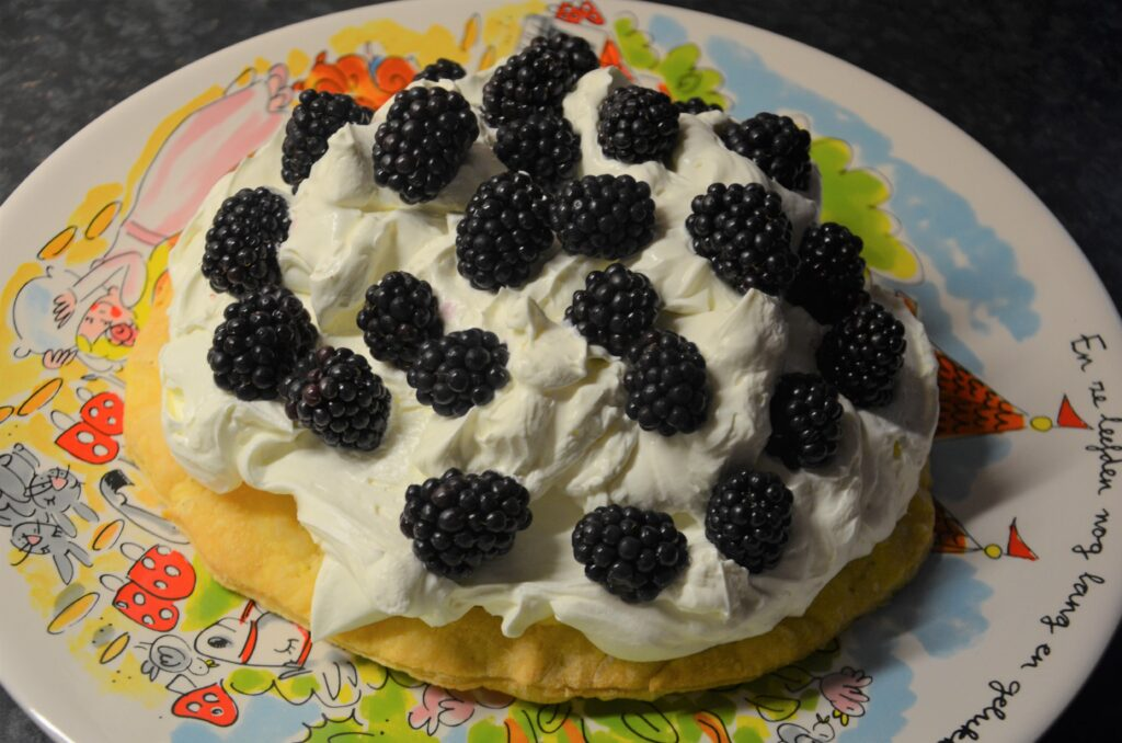 Topped with blackberries