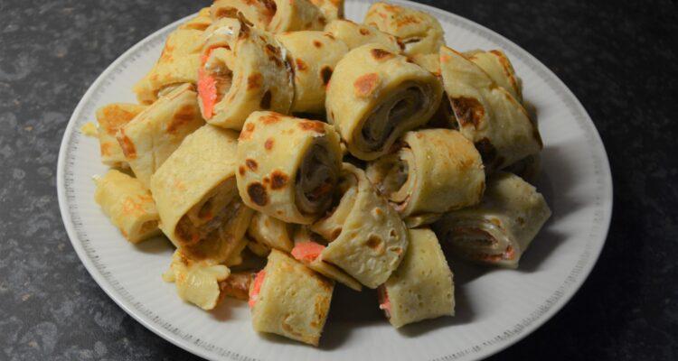 Pancake rolls with salmon