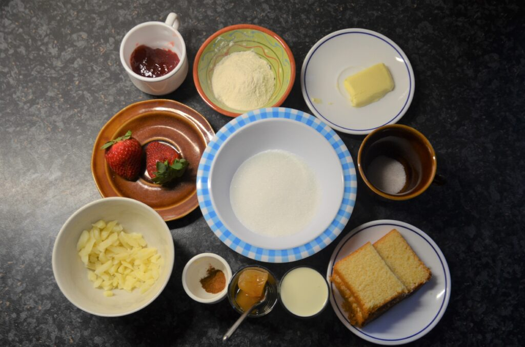 Ingredients for the trifle