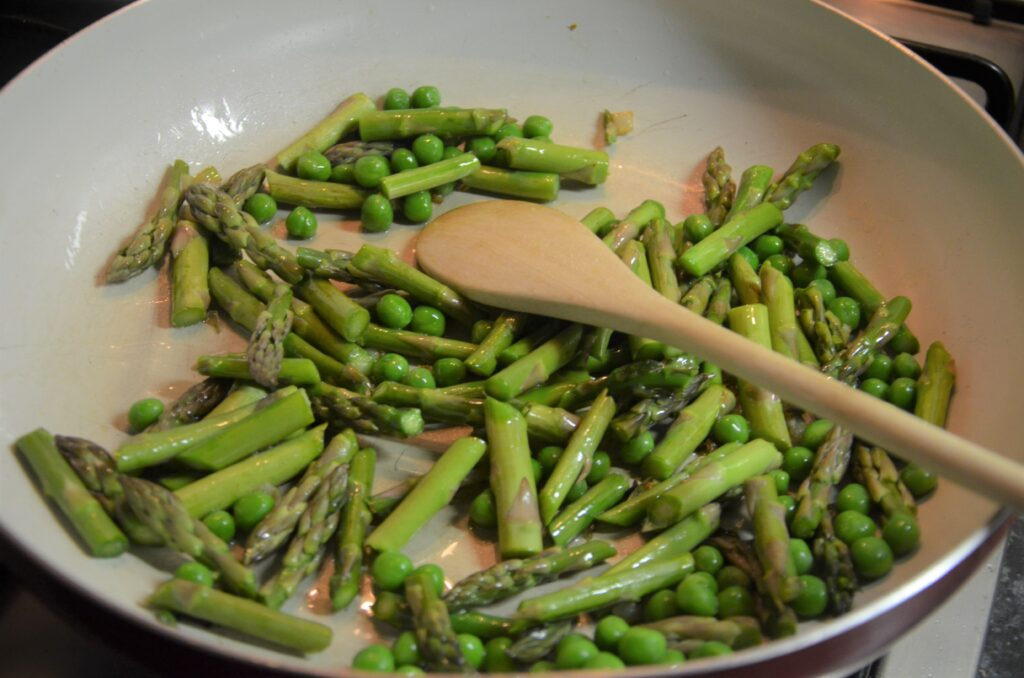 Spring vegetables in a frying pan