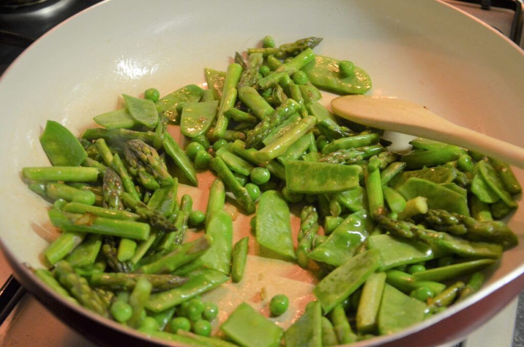 Snow peas added to the greens