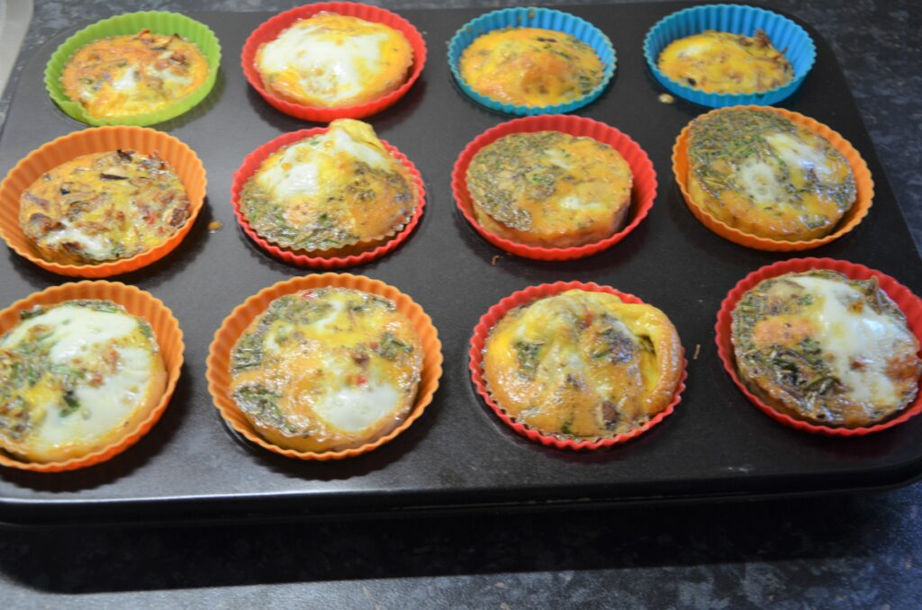 Pulled Pork Egg Muffins after baking still in the muffin cups