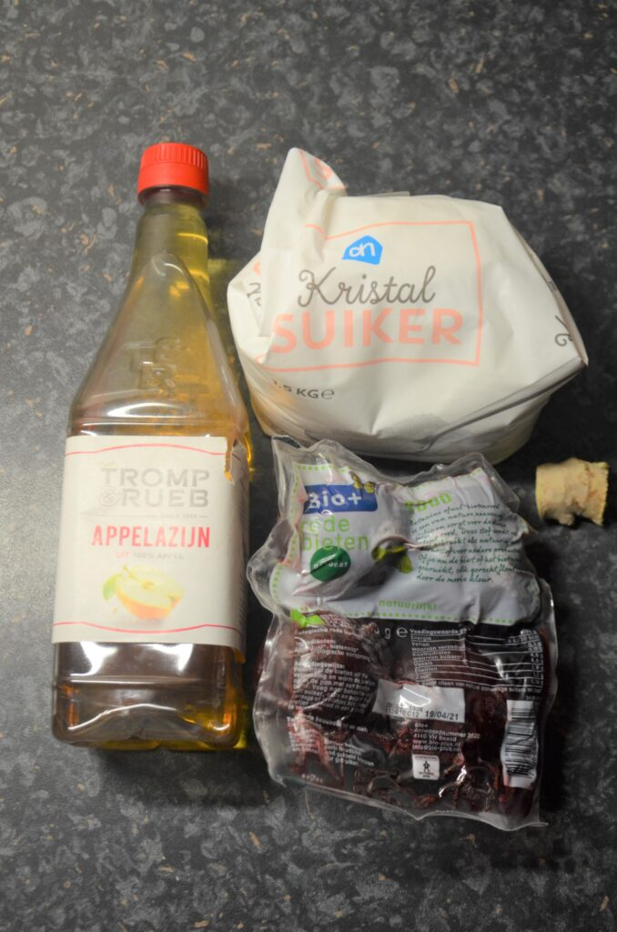 Ingredients placed on the kitchen counter