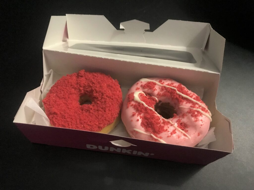 Breakfast donuts, 2 pink ones in a box